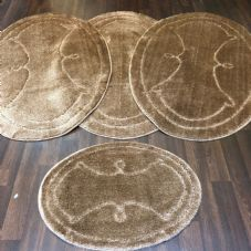 ROMANY WASHABLES GYPSY MATS 4PC SETS NON SLIP WING OVAL DESIGN BEIGE CARPETS NEW